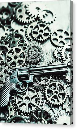 Handguns And Gears Canvas Print