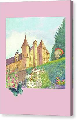 Canvas Print featuring the painting Handpainted Romantic Chateau Summer Garden by Judith Cheng