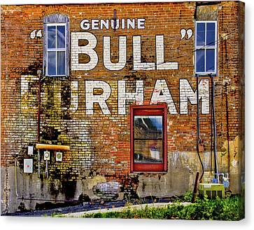 Canvas Print featuring the photograph Handpainted Sign On Brick Wall by David and Carol Kelly