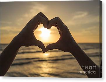Hands Forming Heart Around Sunset Canvas Print by Edward Fielding
