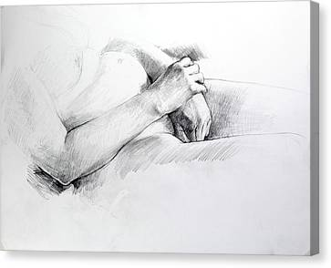 Canvas Print featuring the drawing Hands by Harry Robertson