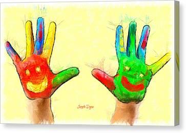 Hands In Art - Da Canvas Print by Leonardo Digenio