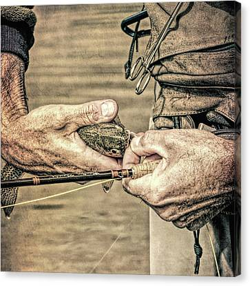 Hands Of A Fly Fisherman Grunge Canvas Print by Jennie Marie Schell