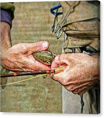 Hands Of A Fly Fisherman Canvas Print by Jennie Marie Schell
