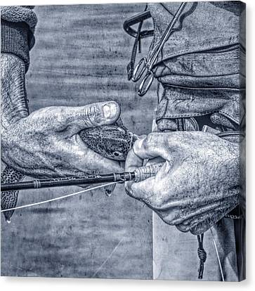 Hands Of A Fly Fisherman Monochrome Blue Canvas Print