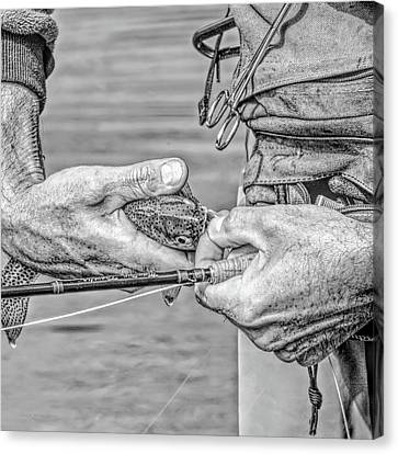 Hands Of A Fly Fisherman Monochrome Canvas Print