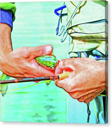 Hands Of A Fly Fisherman Retro Colors Canvas Print by Jennie Marie Schell