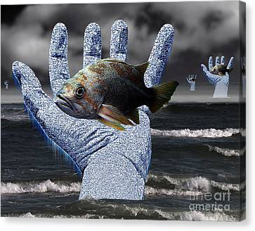 Hands Of The Lost Fishermen Canvas Print by Keith Dillon