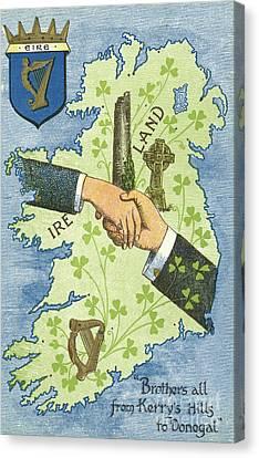Hands Shaking Across Ireland Canvas Print by Irish School