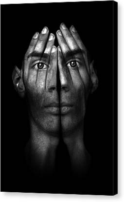 Hands Trying To Cover Eyes Canvas Print by Evan Sharboneau