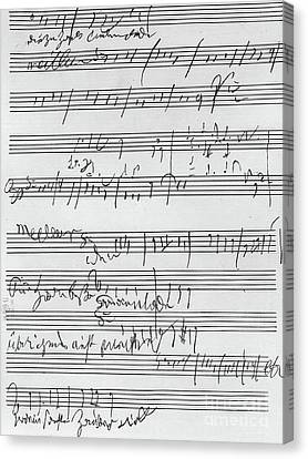 Handwritten Musical Score Canvas Print by Beethoven