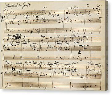 Handwritten Score For Herzliebster Jesu, Chorale Prelude Number 2 Canvas Print by Johannes Brahms