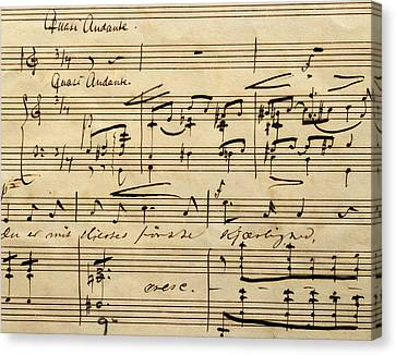 Handwritten Score For Hjertets Melodier, Opus 5 Canvas Print by Edvard Grieg