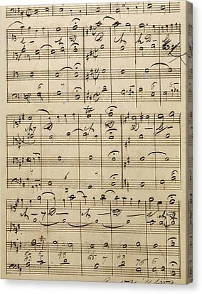 Handwritten Score Canvas Print by Edvard Grieg