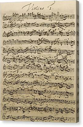 Handwritten Score For Mass In B Minor Canvas Print by Johann Sebastian Bach
