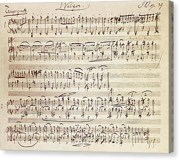 Handwritten Score For Waltz For Piano, Opus 39 Canvas Print by Johannes Brahms