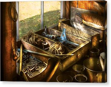 Handyman - Junk On A Bench Canvas Print by Mike Savad
