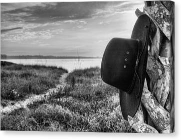 Hang Your Hat In Pensacola Bw Canvas Print