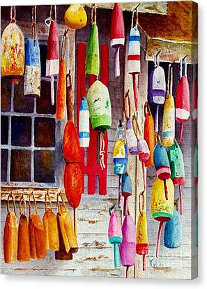 Bouys Canvas Print - Hanging Around by Karen Fleschler