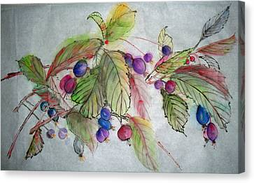 Canvas Print featuring the painting Hanging Crabapples by Debbi Saccomanno Chan