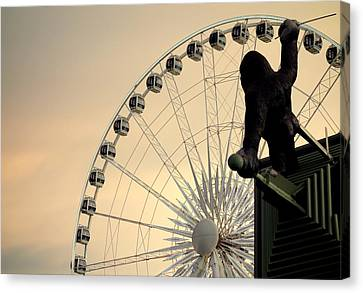 Canvas Print featuring the photograph Hanging On The Wheel by Valentino Visentini