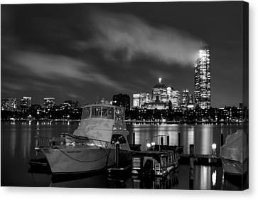 Hanging Onto A Cloud John Hancock Tower Boston Ma Black And White Canvas Print by Toby McGuire