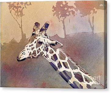 Canvas Print featuring the painting Hanging Out- Giraffe by Ryan Fox