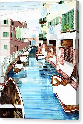 Hanging Out In Venice - Prints From My Original Oil Painting Canvas Print