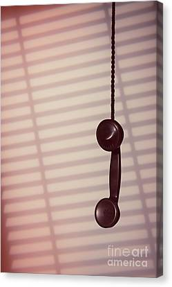 Venetian Blinds Canvas Print - Hanging Phone Receiver by Amanda Elwell