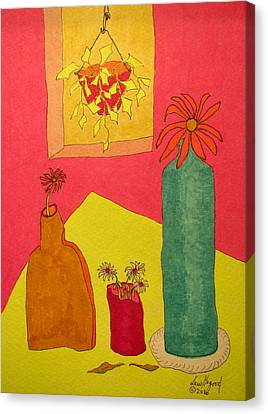 Hanging Plant And 3 On Table Canvas Print