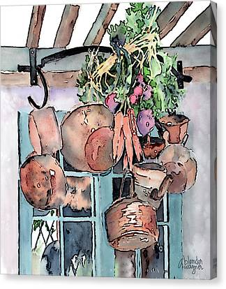 Hanging Pots And Pans Canvas Print by Arline Wagner