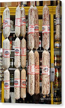 Hanging Salami Canvas Print by Wingsdomain Art and Photography