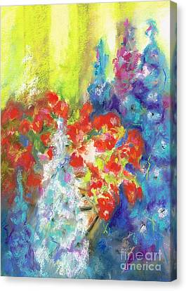 Hanging With The Delphiniums  Canvas Print by Frances Marino