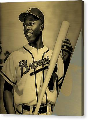 Hank Aaron Collection Canvas Print by Marvin Blaine