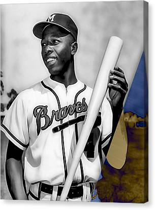Hank Aaron Canvas Print by Marvin Blaine