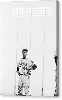 Hank Aaron On The Field, 1958 Canvas Print by The Harrington Collection