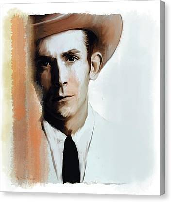 Canvas Print featuring the painting Hank Williams Faiths Fire by Iconic Images Art Gallery David Pucciarelli