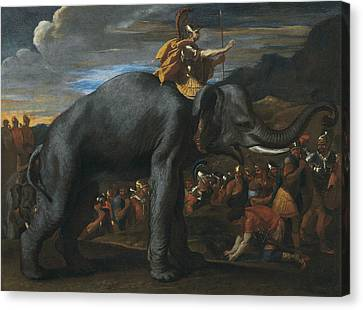 Hannibal Crossing The Alps On Elephants Canvas Print by Nicolas Poussin