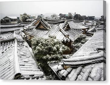 Bamboo House Canvas Print - Hanok Winter by Aaron Choi