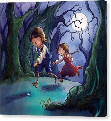 Hansel And Gretel Pebbles Canvas Print