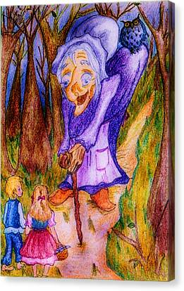 Canvas Print featuring the drawing Hansel And Gretel by Rae Chichilnitsky