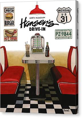 Canvas Print featuring the painting Hansen's Drive-in by Ferrel Cordle