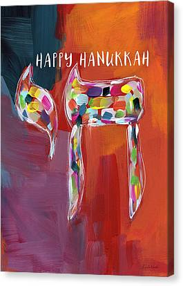 Hanukkah Chai- Art By Linda Woods Canvas Print