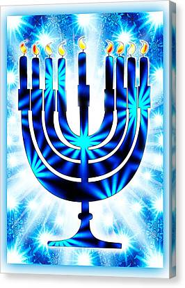 Hanukkah Greeting Card Ix Canvas Print by Aurelio Zucco