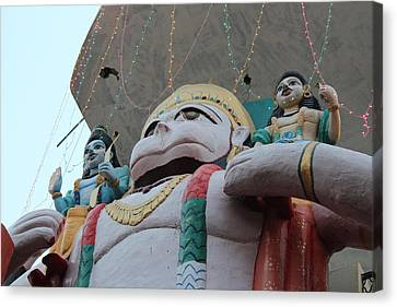 Hanuman With Ram And Lakshman, Vrindavan Canvas Print
