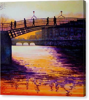 Ha'penny Bridge Dublin Canvas Print by John  Nolan
