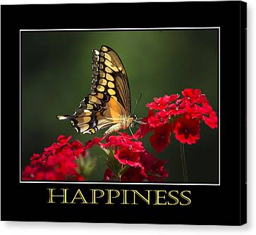 Happiness Inspirational Poster Art Canvas Print by Christina Rollo