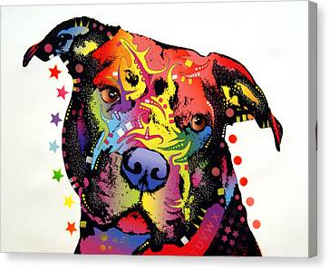 Happiness Pitbull Warrior Canvas Print