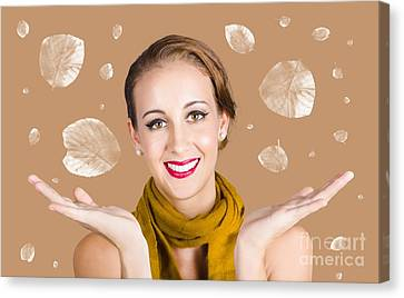 Happy Autumn Woman With Spread Hands Canvas Print by Jorgo Photography - Wall Art Gallery