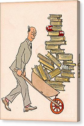Canvas Print featuring the drawing Happy Bibliophile 1930 by Padre Art